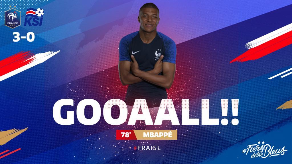 .@KMbappe dispatches @AntoGriezmann's through ball with aplomb, and France lead by three! 🤜  #FiersdetreBleus #EURO2020 #FRAISL