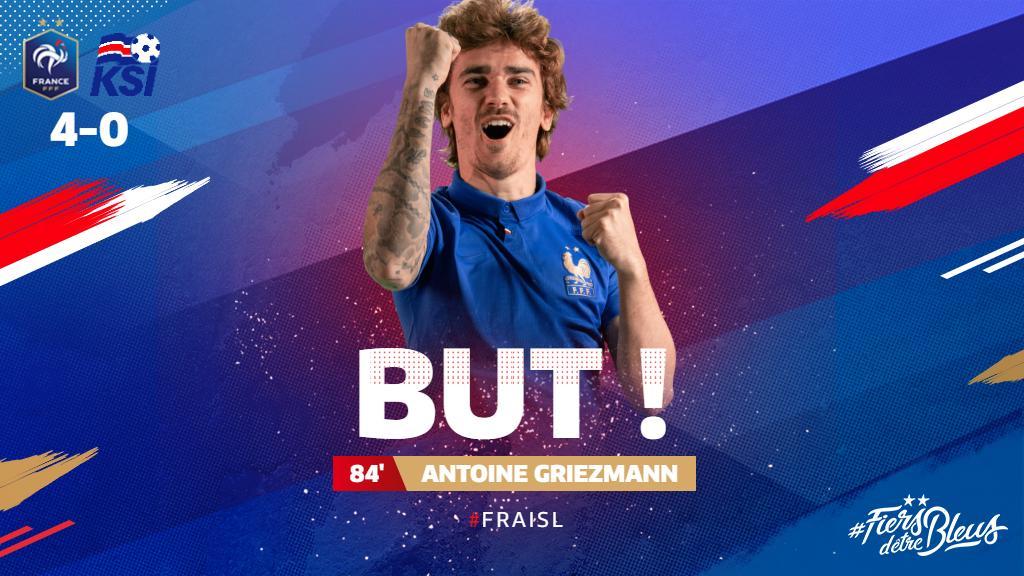 Et de 4 !!! @AntoGriezmann !!!! 🇫🇷🇮🇸 #FRAISL #FiersdetreBleus