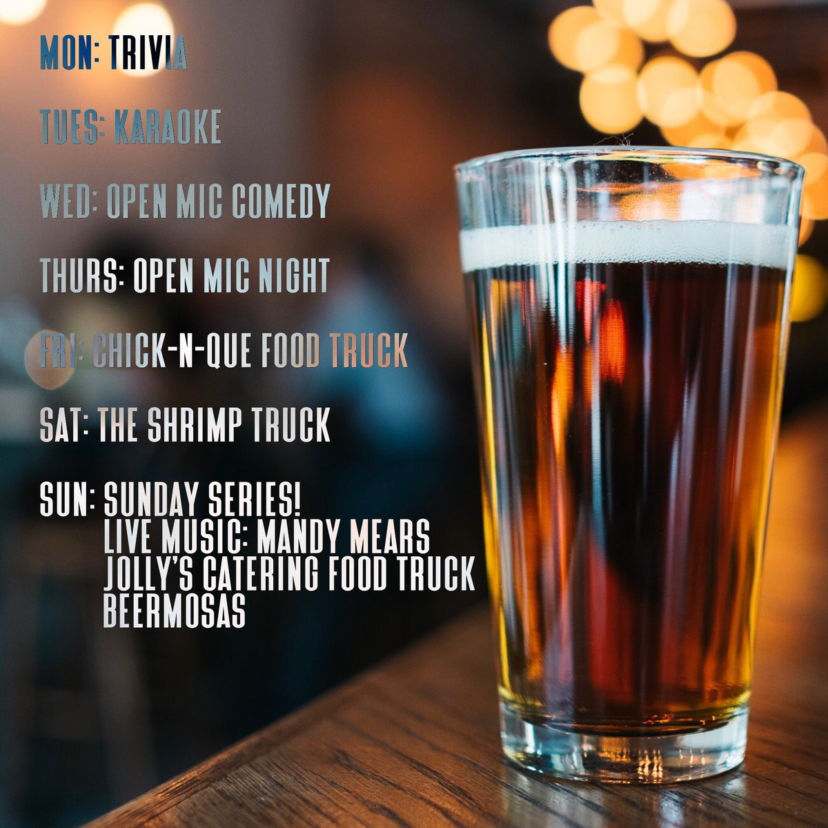 This week at PSBC: Mon: Team Trivia 7pm Tues: karaoke 7pm Wed: open mic comedy 8pm Thurs: open mic night 8pm Fri: chick-n-que food truck 6pm Sat: the shrimp truck 6pm Sun: Sunday Series!          Live music: Mandy Mears 4pm          Jolly's catering food truck          BeerMosas