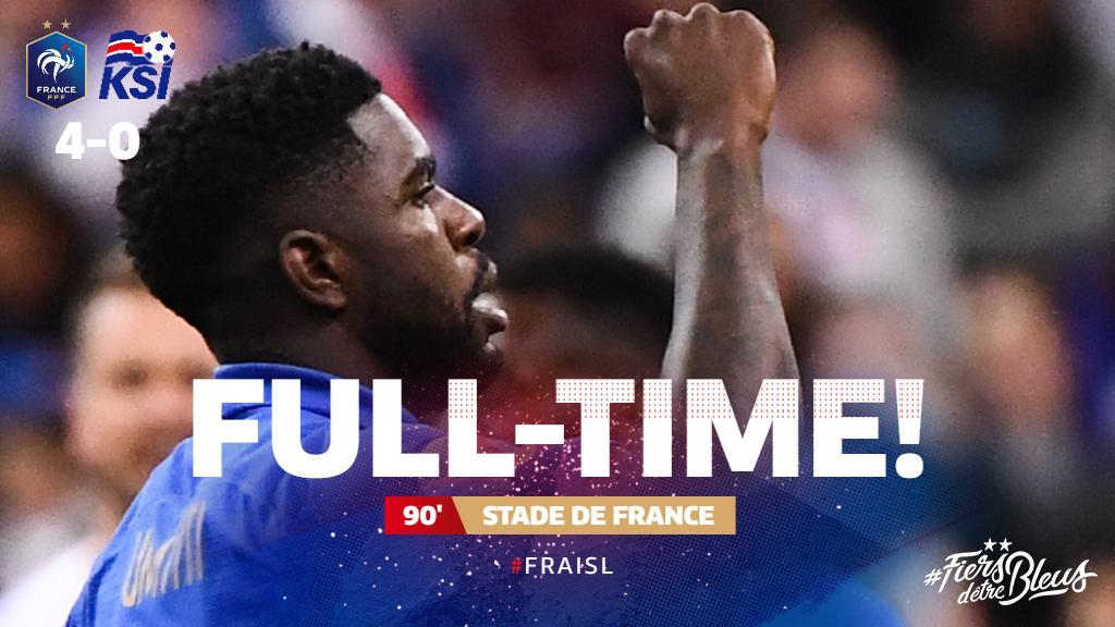 An excellent performance by Les Bleus at the Stade de France. 👍  #FiersdetreBleus #EURO2020 #FRAISL