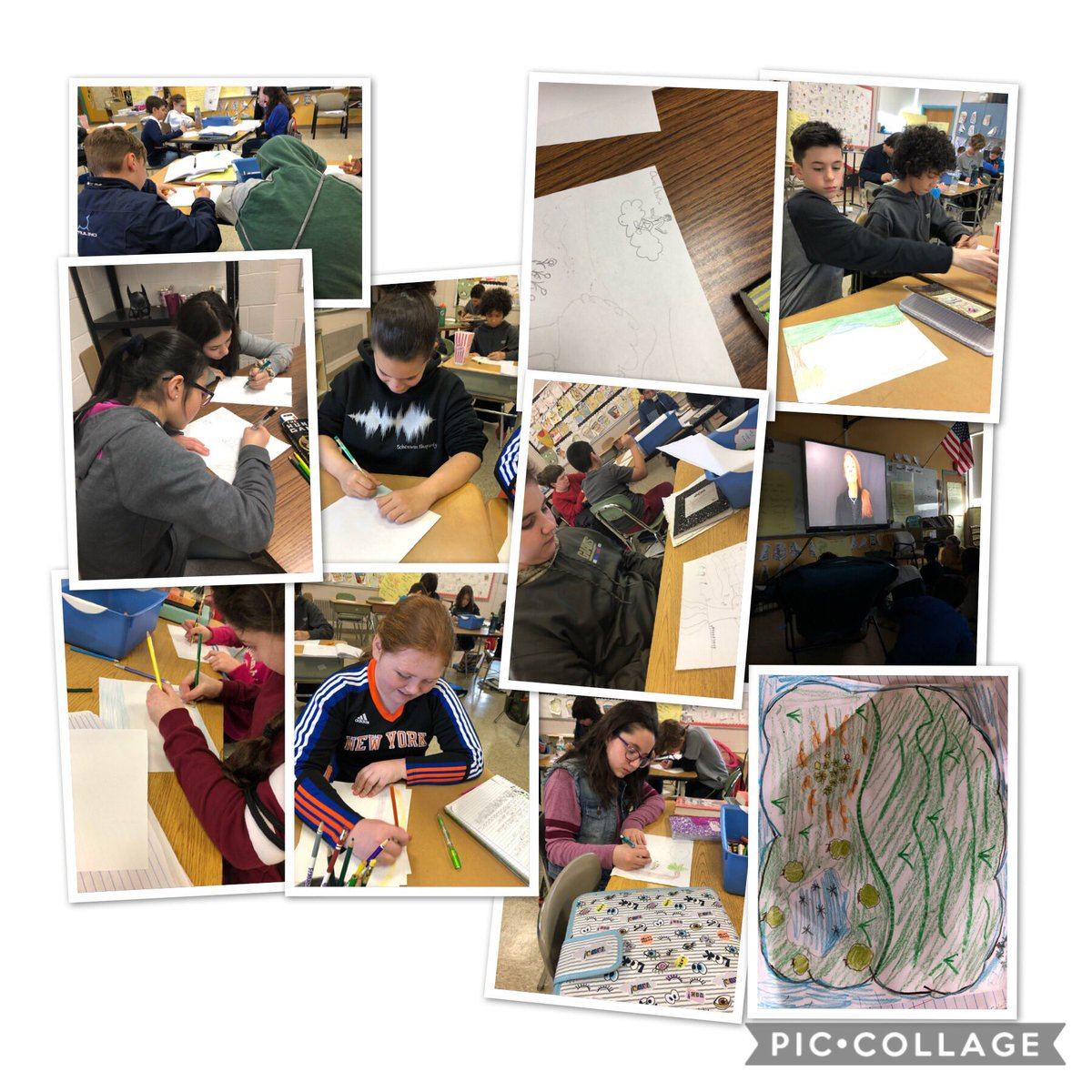 #readingheroes analyze a text for imagery. They listen closely to the words, then draw what they hear. Sensory and figurative language are especially important! #smspride #smsreads #smsreadspoetry @DrChrisLongo @SMS_CT