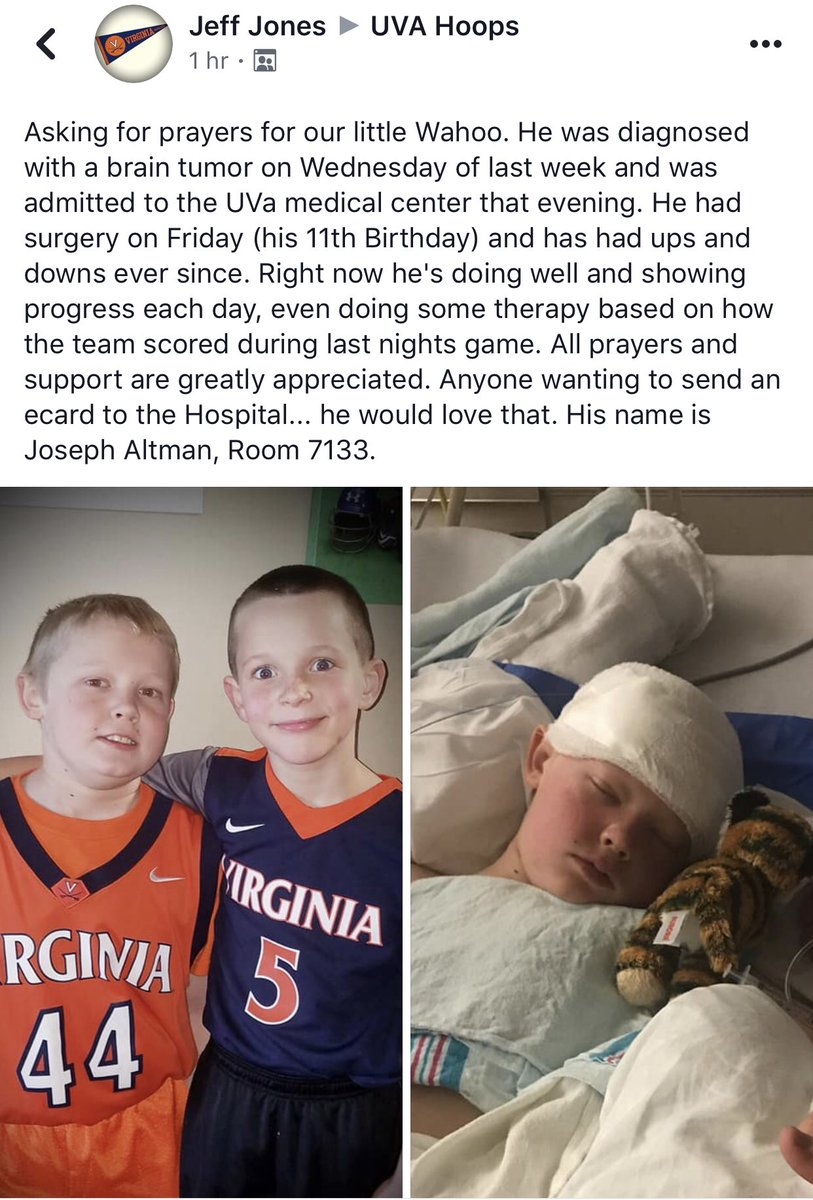 Twitter,   Any way we could spread this so that it could get out to the team and coaches? Would definitely brighten this little Wahoo's day if he got some support from the guys