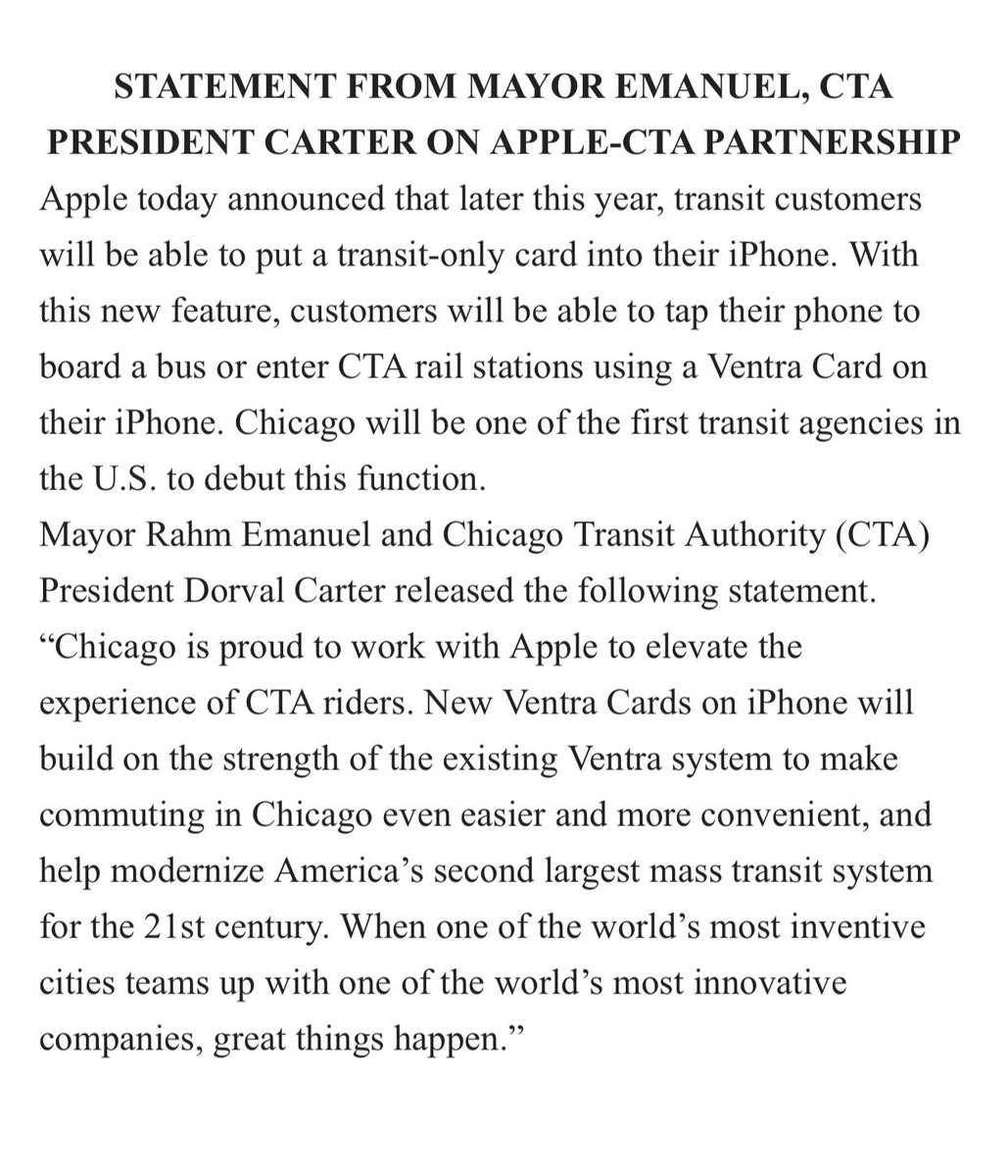 Chicago is proud to work with @Apple to elevate the experience of @CTA riders. New @VentraChicago Cards on #iPhone will build on the strength of the existing Ventra system to make commuting in Chicago even easier & more convenient. Full statement here: