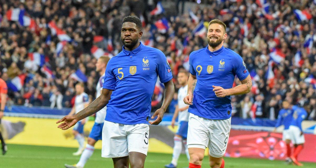 Umtiti celebrando su tanto con Francia.