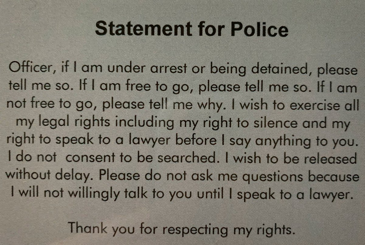 Would you like a FREE laminated Statement for Police card(s)?  Contact:  Roxanne@LooneyConrad  #MejorAbogadoDeDefensaCriminalHouston #BestCriminalDefenseAttorneysHouston #BestCriminalDefenseAttorneysNearMe #BestDUIAttorneysNearMe #BestDWIAttorneysNearMe  http://www.LooneyConrad.com