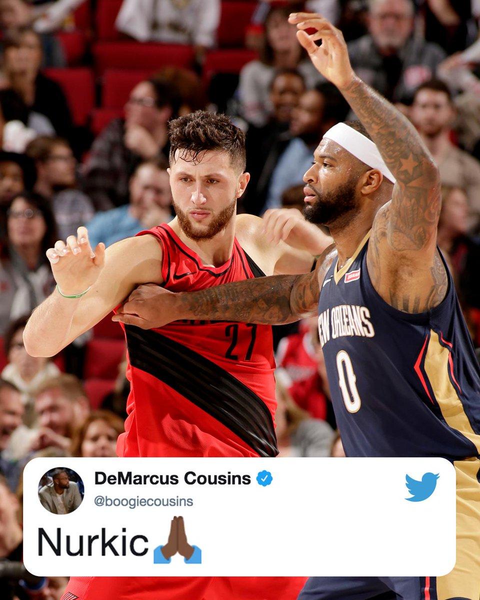 Los jugadores de la #NBA muestran su apoyo a Jusuf Nurkic tras su grave lesión.  #PrayForNurk 🙏🏻