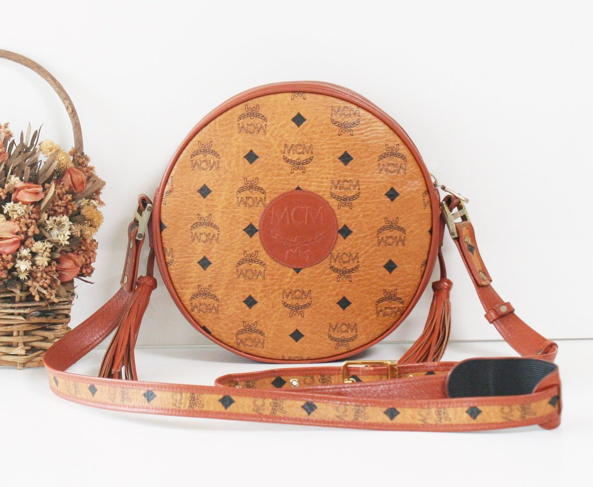 35edf4c9c ... shop: Auth MCM Visetos Cognac Tambourine shoulder cross-body handbag  vintage brown purse rare https://etsy.me/2U31CgH #bagsandpurses #brown  #graduation ...