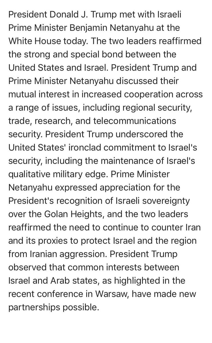 Readout of @POTUS meeting with @netanyahu just issued by the @WhiteHouse.