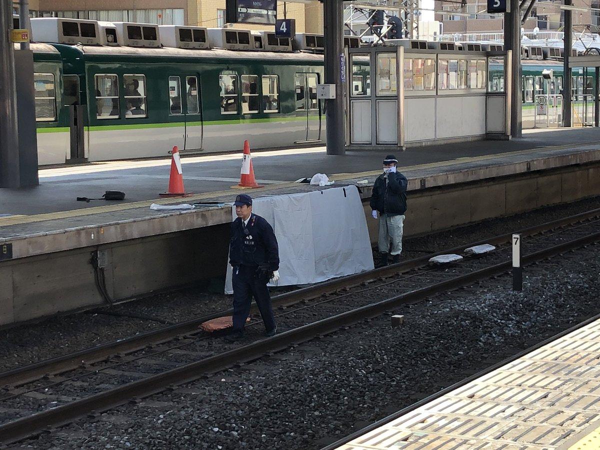 守口市駅で高齢男性が飛び込み自殺を図った人身事故の現場画像