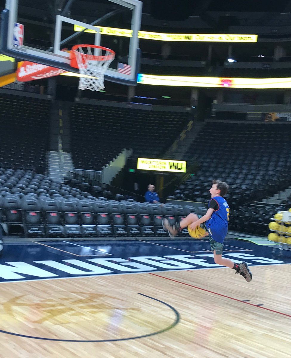 Thank you @WesternUnion, @nuggets, @BeMore27, and Nikola Jokic for making G your second place finisher in the WU Trick Shot Contest!  It was the thrill of a lifetime for him!  #MileHighBasketball