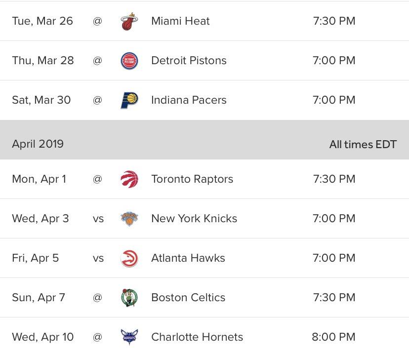 La temporada está en la línea. Próximos 4 juegos serán los que pueden determinar nuestro destino. No tan sólo eso, pero 6 de los últimos 8 serán de visitantes. Sin mucho análisis, los Magic necesitarán ganarle a: #HEATCulture  #Hornets30 #NewYorkForever  #TrueToAtlanta