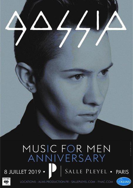 """[ ANNONCE ] GOSSIP en #concert - @sallepleyel  L'énergie folle de #gossip sera de retour sur scène pour souffler les 10 bougies de """"Music For Men"""" le 8 juillet 2019 à la #sallepleyel MISE EN VENTE - v"""