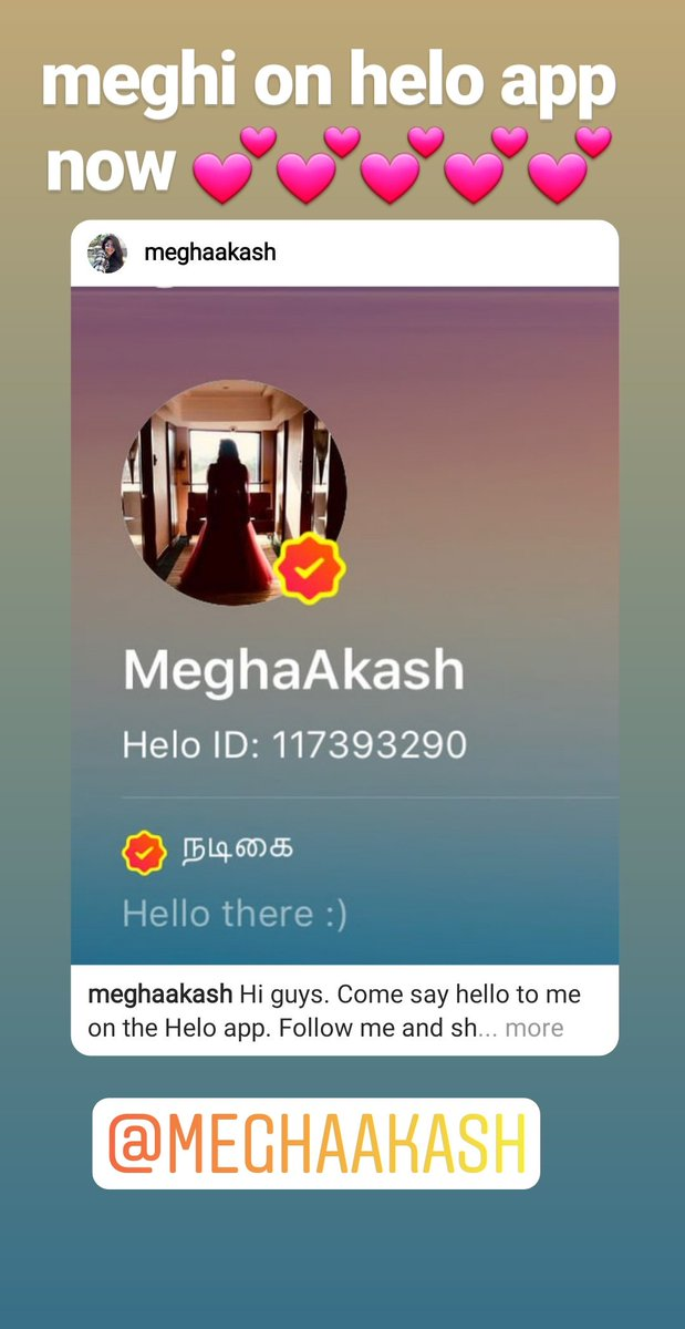 meghaaddict Meghi on helo app now 😘😘😘😘😘 @akash_megha