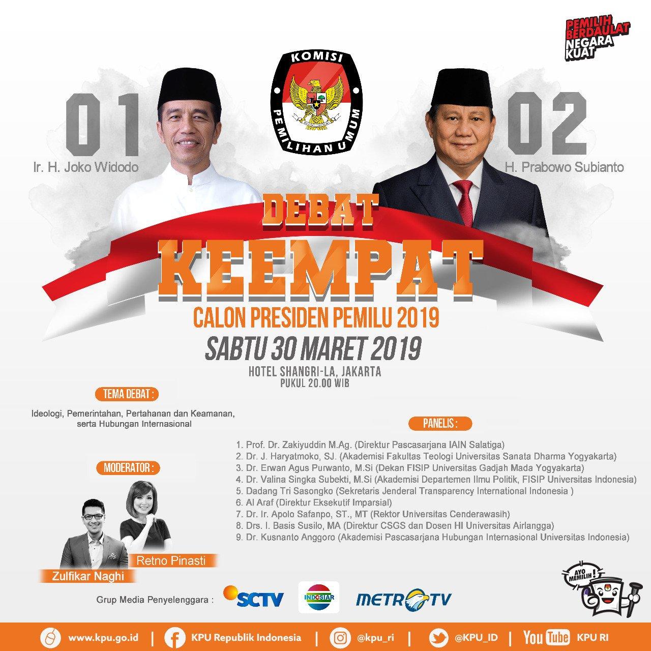 Seputar Debat Capres ke-4 Jadwal dan Berita, Jokowi Vs Prabowo
