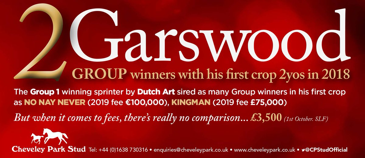 2⃣ GARSWOOD Group winners from his first crop of 2yo's in 2018...  🥇 The Gr.1 winning sprinter by Dutch Art stands at @CPStudOfficial for a 2019 stud fee of £3,500 Oct 1st SLF. #readallaboutit   👉🏼https://t.co/IhJDBF72Q3