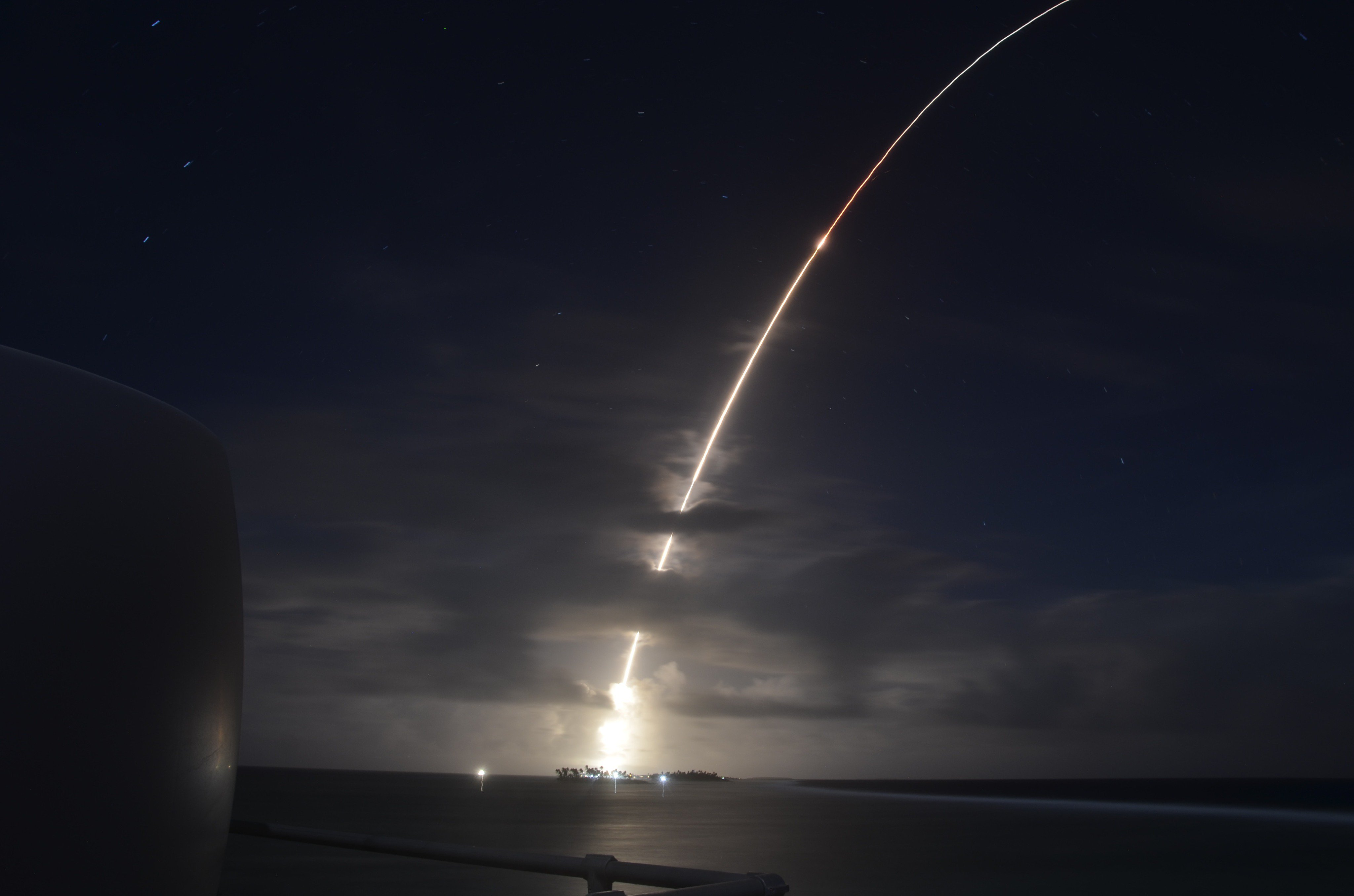 A threat-representative ICBM target launches from the Ronald Reagan Ballistic Missile Defense Test Site on Kwajalein Atoll in the Republic of the Marshall Islands March 25, 2019. It was successfully intercepted by two long-range Ground-based Interceptors launched from Vandenberg Air Force Base, Calif., in the first salvo test of GBIs.