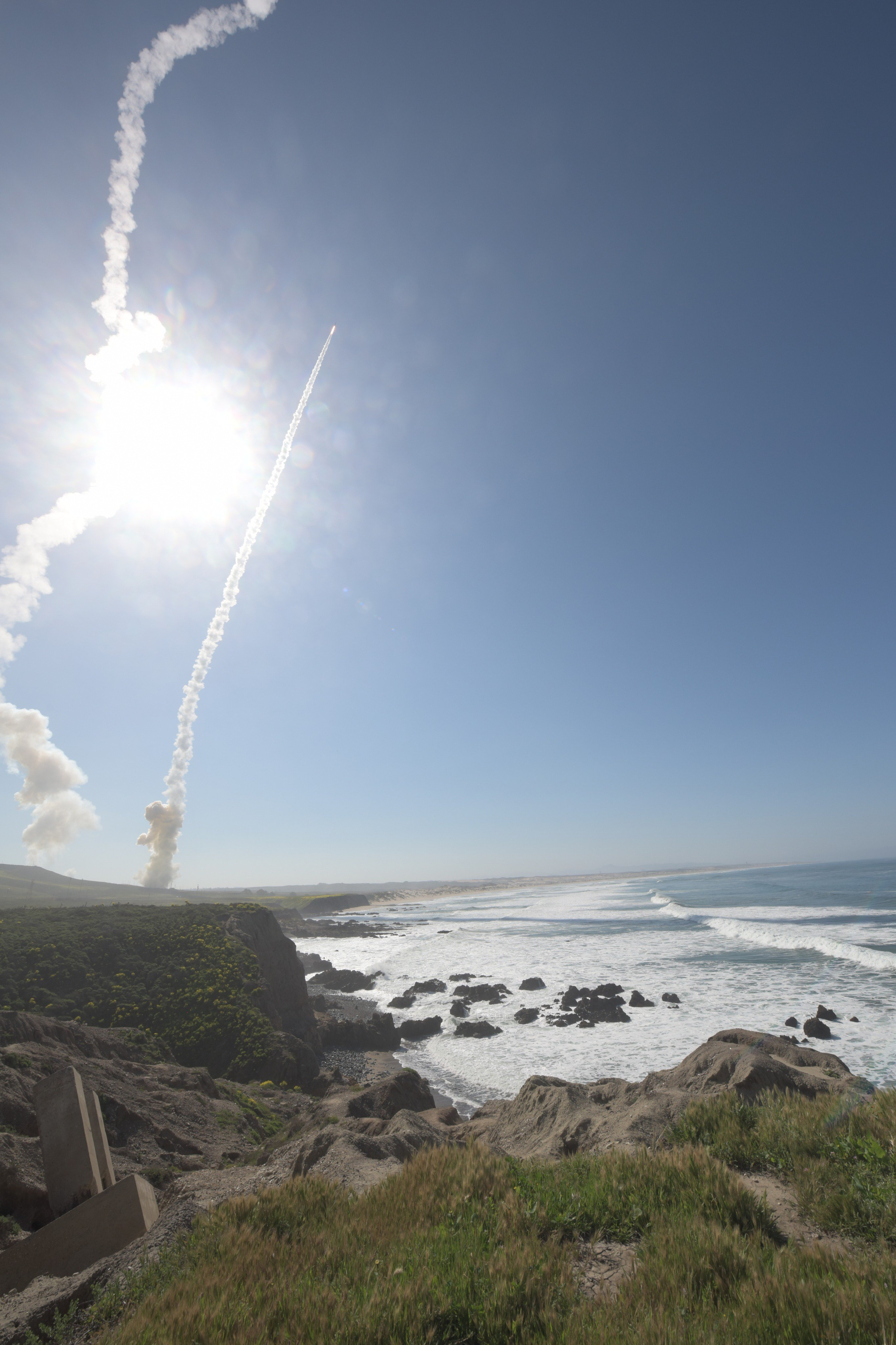 Two long-range Ground-based Interceptors launched from Vandenberg Air Force Base, Calif., March 25, 2019, in the first-ever salvo engagement test of a threat-representative ICBM target. The two GBIs successfully intercepted a target launched from the Ronald Reagan Ballistic Missile Defense Test Site on Kwajalein Atoll.