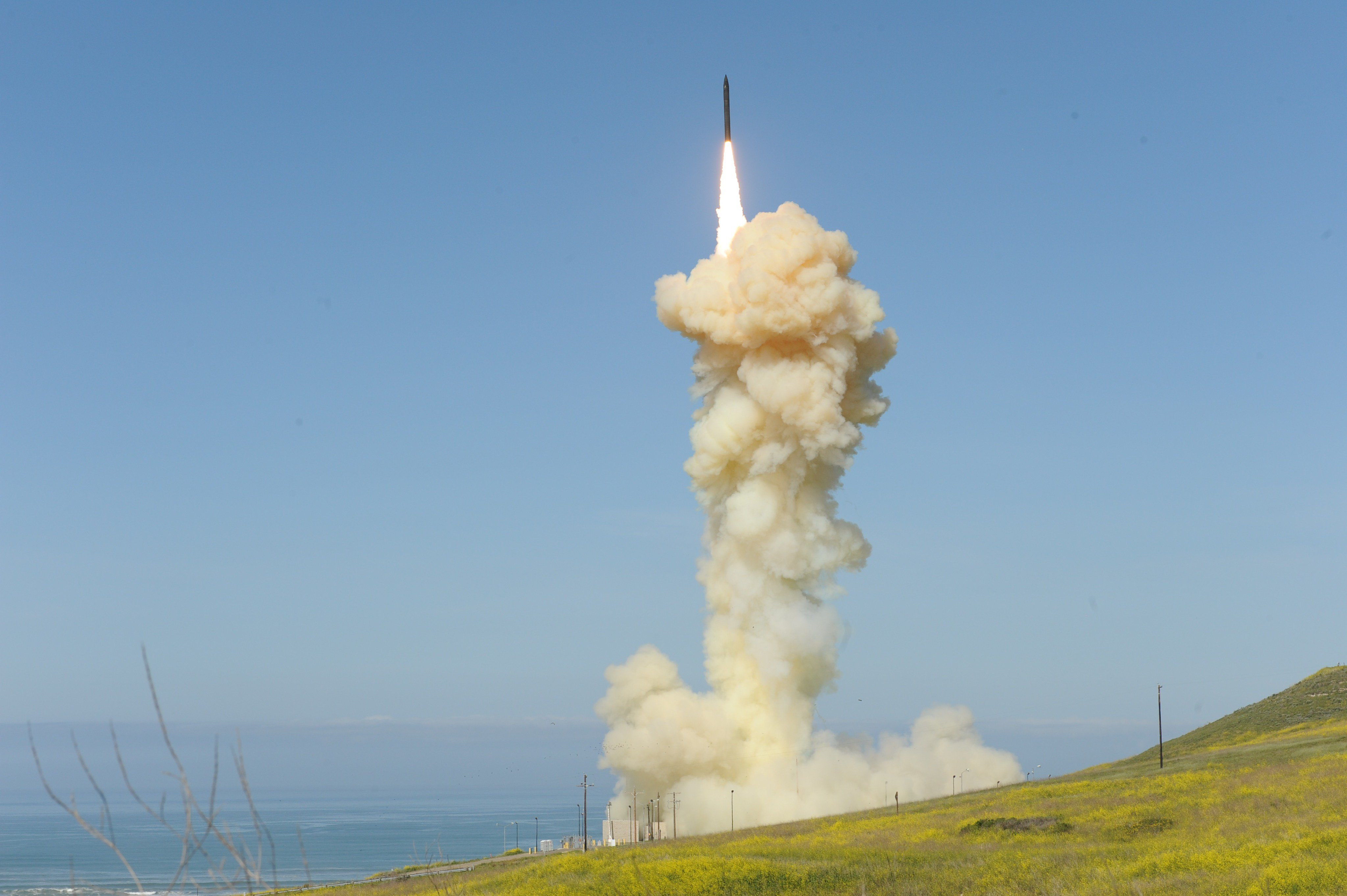 The 'lead' Ground-based Interceptor is launched from Vandenberg Air Force Base, Calif., March 25, 2019, in the first-ever salvo engagement test of a threat-representative ICBM target. The two GBIs successfully intercepted a target launched from the Ronald Reagan Ballistic Missile Defense Test Site on Kwajalein Atoll.