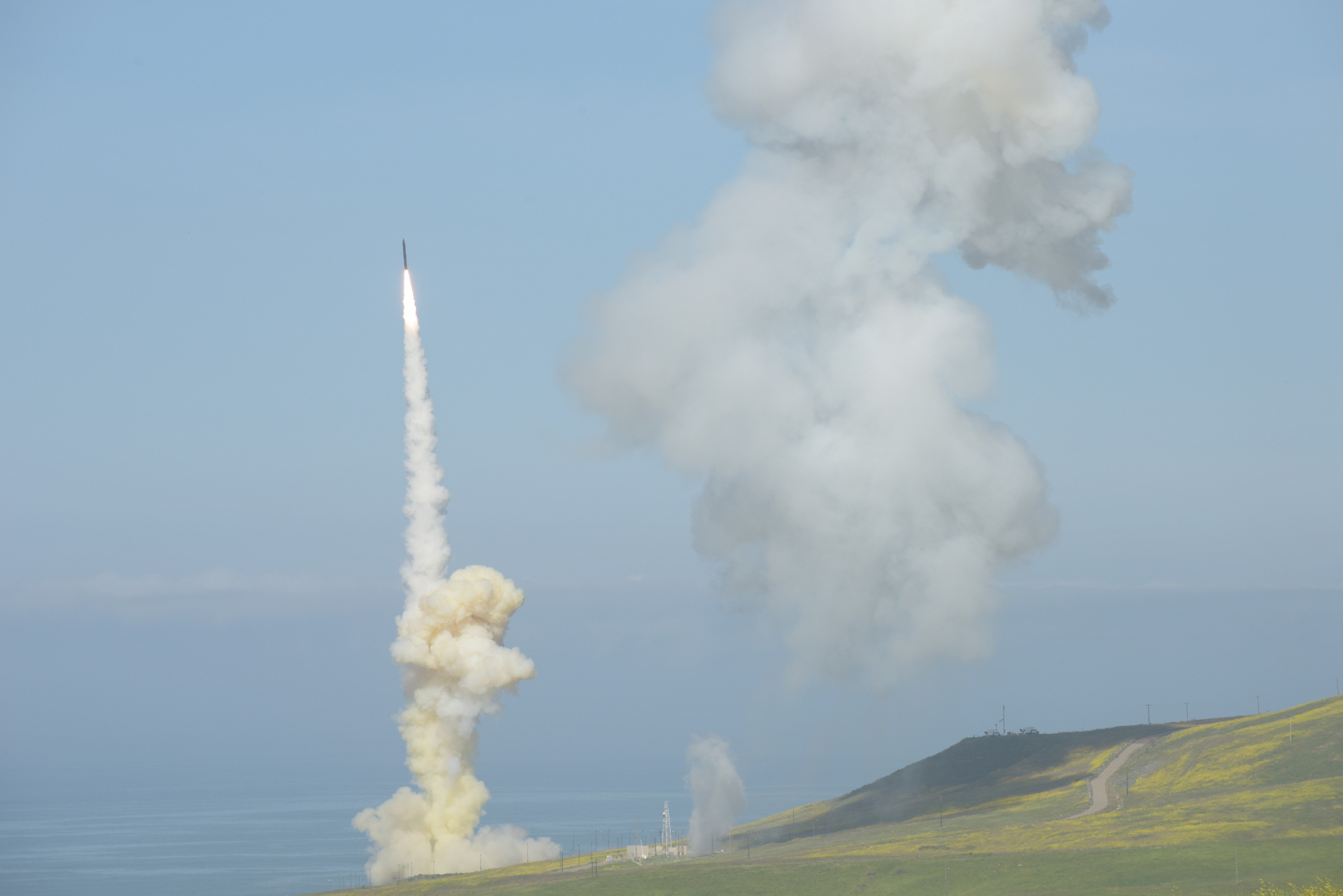 The 'trail' Ground-based Interceptor is launched from Vandenberg Air Force Base, Calif., March 25, 2019, in the first-ever salvo engagement test of a threat-representative ICBM target. The two GBIs successfully intercepted a target launched from the Ronald Reagan Ballistic Missile Defense Test Site on Kwajalein Atoll.