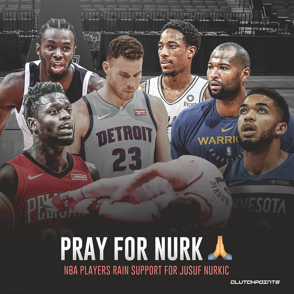 Andrew Wiggins, Karl-Anthony Towns, Julius Randle, Blake Griffin, DeMar DeRozan, and DeMarcus Cousins rally behind Jusuf Nurkic. 🙏 #Blazers #RipCity #NBA #NBATwitter