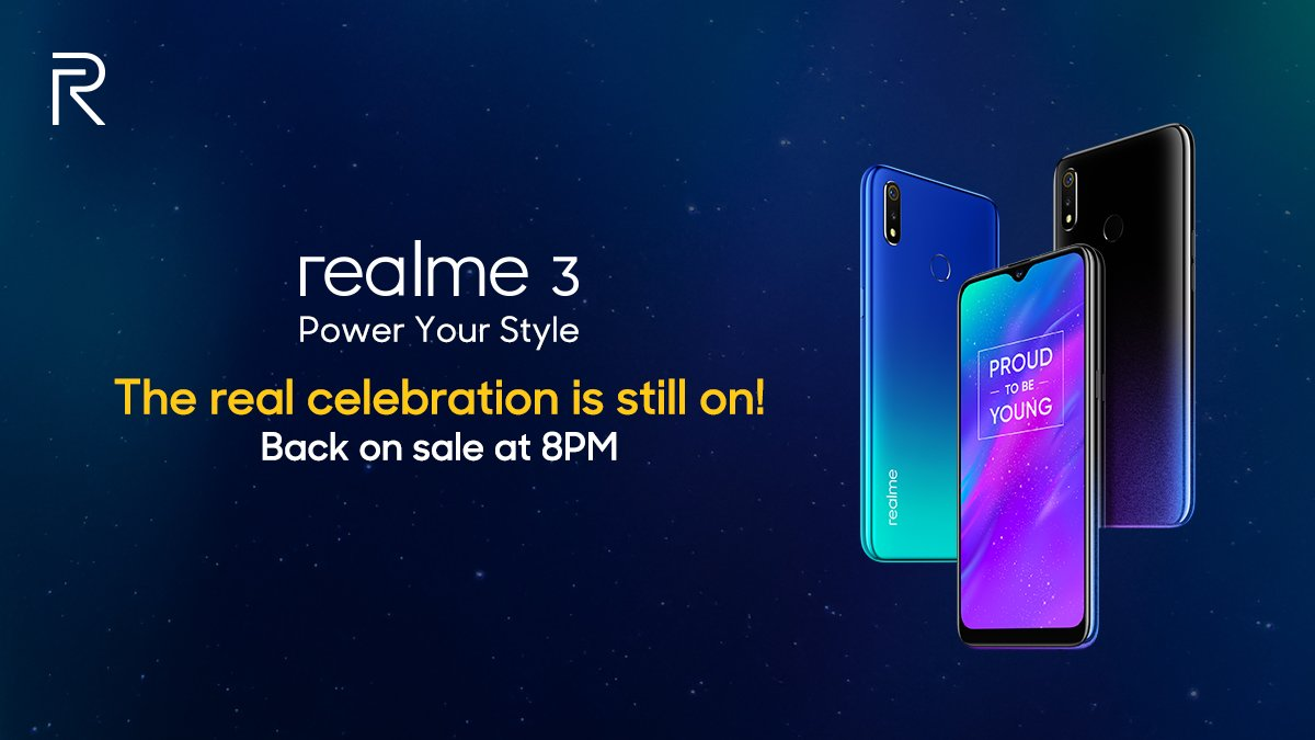 Sale comes back at 8PM tonight on  Flipkart and http   realme.com in . RT  to share the message! Know more  http   bit.ly 2SC1Mqx pic.twitter .com LrWKeq4T8Z 4f4c3a7eb