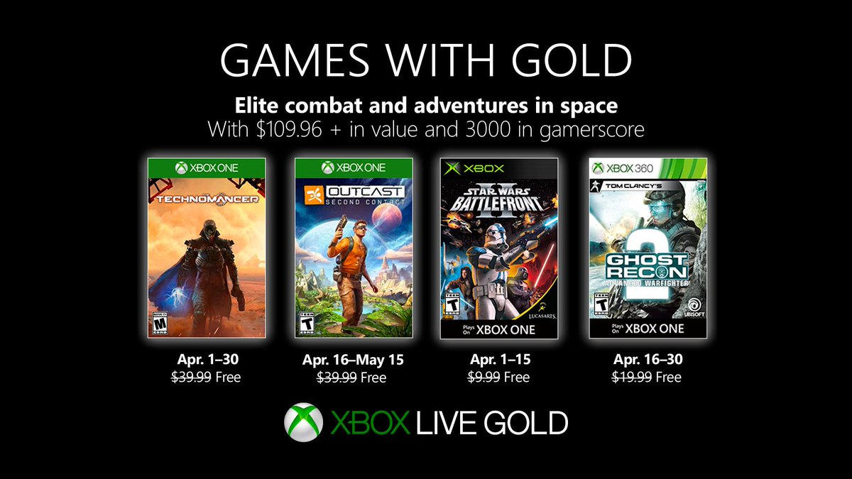 Xbox Live Games with Gold April 2019