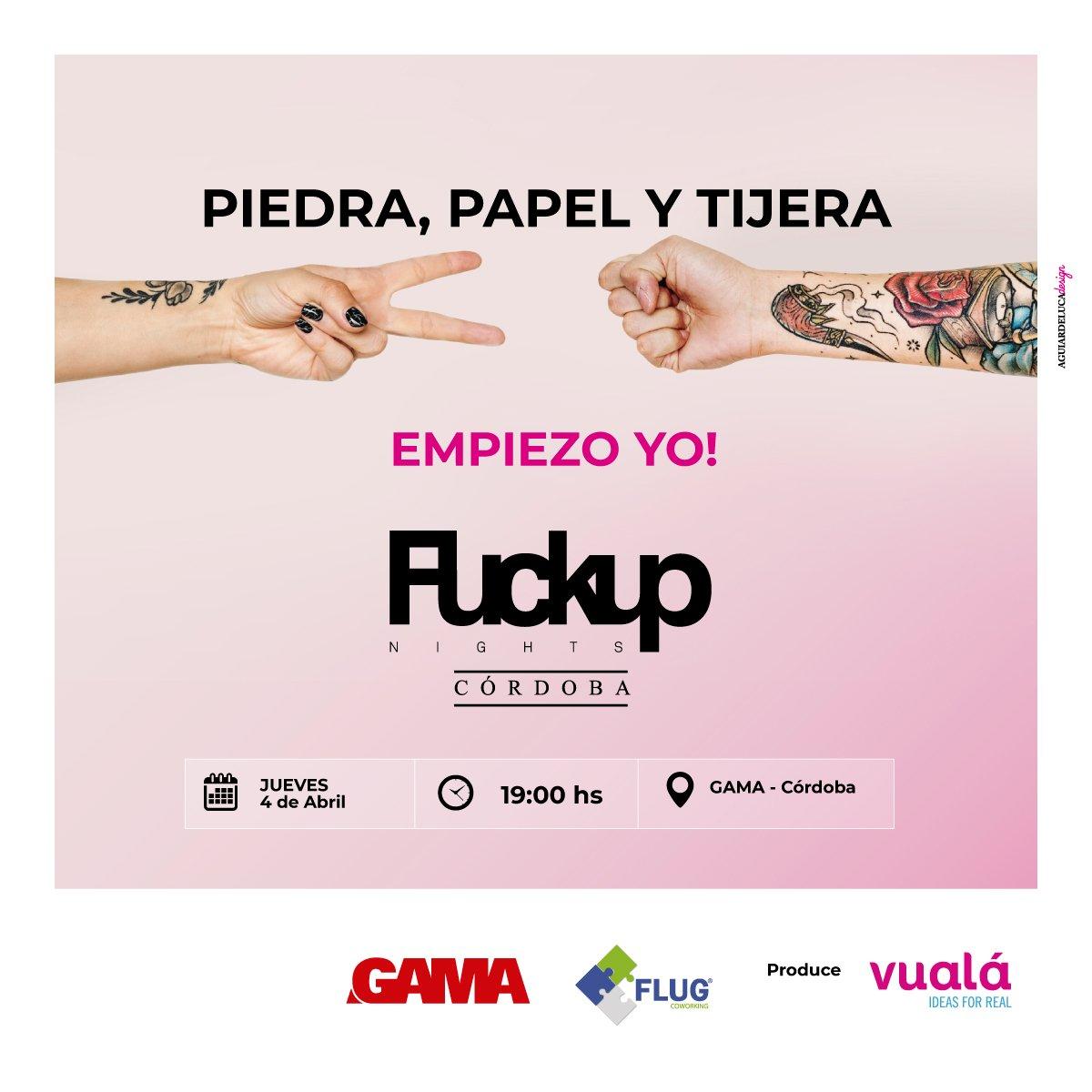 """☝ """"Para fracasar, hay que intentar"""" Se viene otro #FuckUpNights en #CIUDADGAMA 😎   📅 Jueves 4/4 🕖 19 hs  🛒 Comprá tus entradas:  https://t.co/52Cd0JIZJ9  #gamadesarrollos #eventos #córdoba #invertiencordoba #sociales #friends #amigosdegama #30Años https://t.co/YcSPipTLRq"""