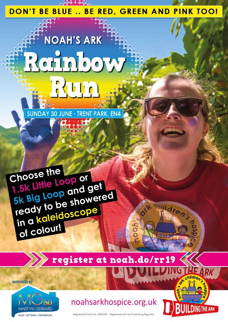 poster or flyer advertising event Noah\'s Ark Children\'s Hospice Rainbow Run 2019