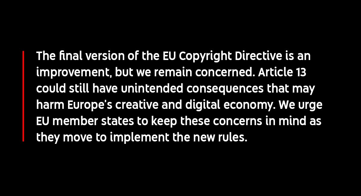 Update: The European Parliament has now voted on the EU Copyright Directive. Thanks to all the creators who spoke up about how #Article13 will impact them and their communities. Here's our statement on today's vote ⬇️