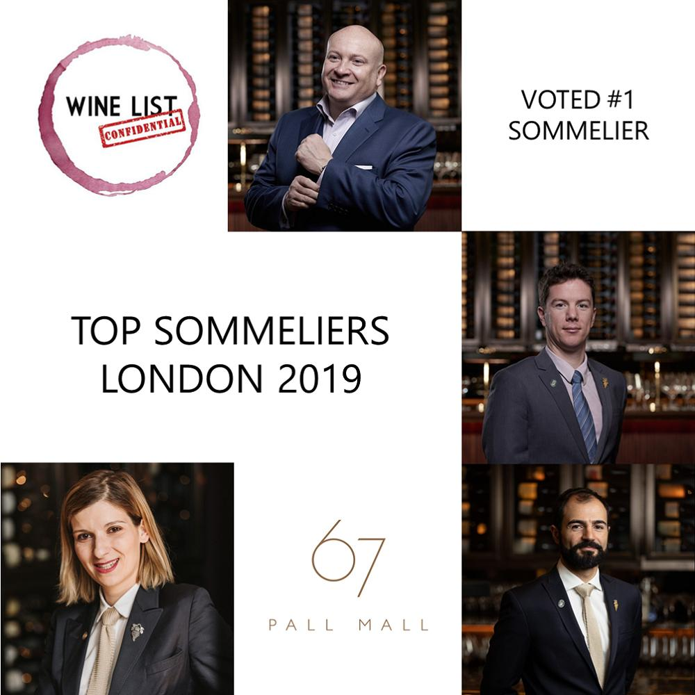 67 Pall Mall's team voted Best Sommeliers in London 2019