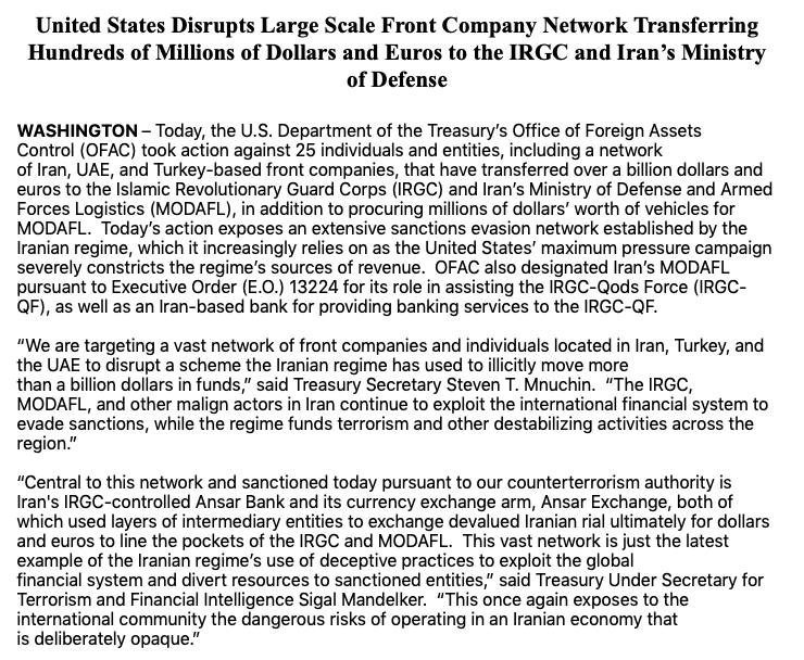 US uncovers #Iran sanctions evasion network that transferred +$1 billion dollars to #IRGC & Ministry of Defense  Per @USTreasury, actions has been taken vs 25 individuals&entities from #Iran #UAE #Turkey  Iran's IRGC-controlled Ansar Bank seen as central player