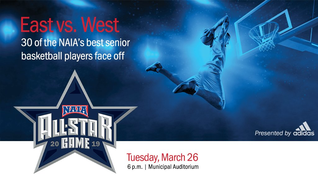 Before the #NAIADIMBB National Championship Game tips-off tonight, come watch 30 of the NAIA's best senior basketball players compete in the NAIA All-Star Game presented by @adidas at 6 p.m.  Buy your tickets here: https://t.co/6kDuJcVaMR #ExperienceNAIA #CollegeBasketball https://t.co/Q889RwZZql
