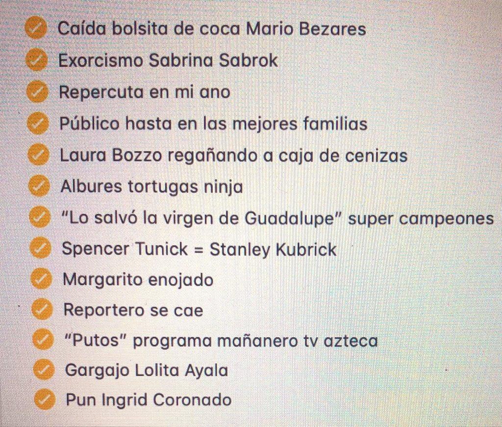 "Acá la lista de ""Momentos ñeros en la televisión mexicana"" ¿Cuál nos falta? #tristeturno"