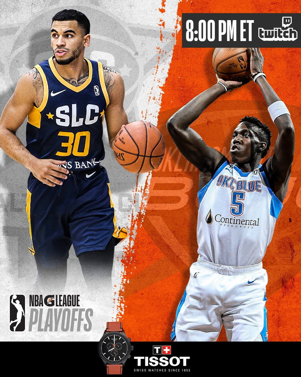 One game with a spot in the Conference Semifinals on the line! #GLeaguePlayoffs  @UtahJazz  #2WayPlayer @NazzyJML leads the @SLCStars vs. @OKCThunder draftee  @KHerv_25 & the @OKCBlue... tonight at 8 pm/et on  http://Twitch.TV/NBAGLeague    @TISSOT | #ThisIsYourTime