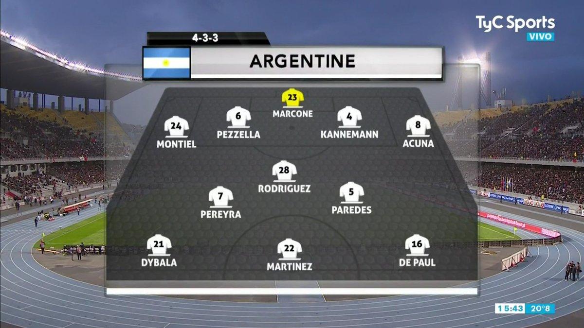 Scaloni contra Venezuela improvisando con línea de 5 y hoy con Marcone en el arco! 🤦🏻♂