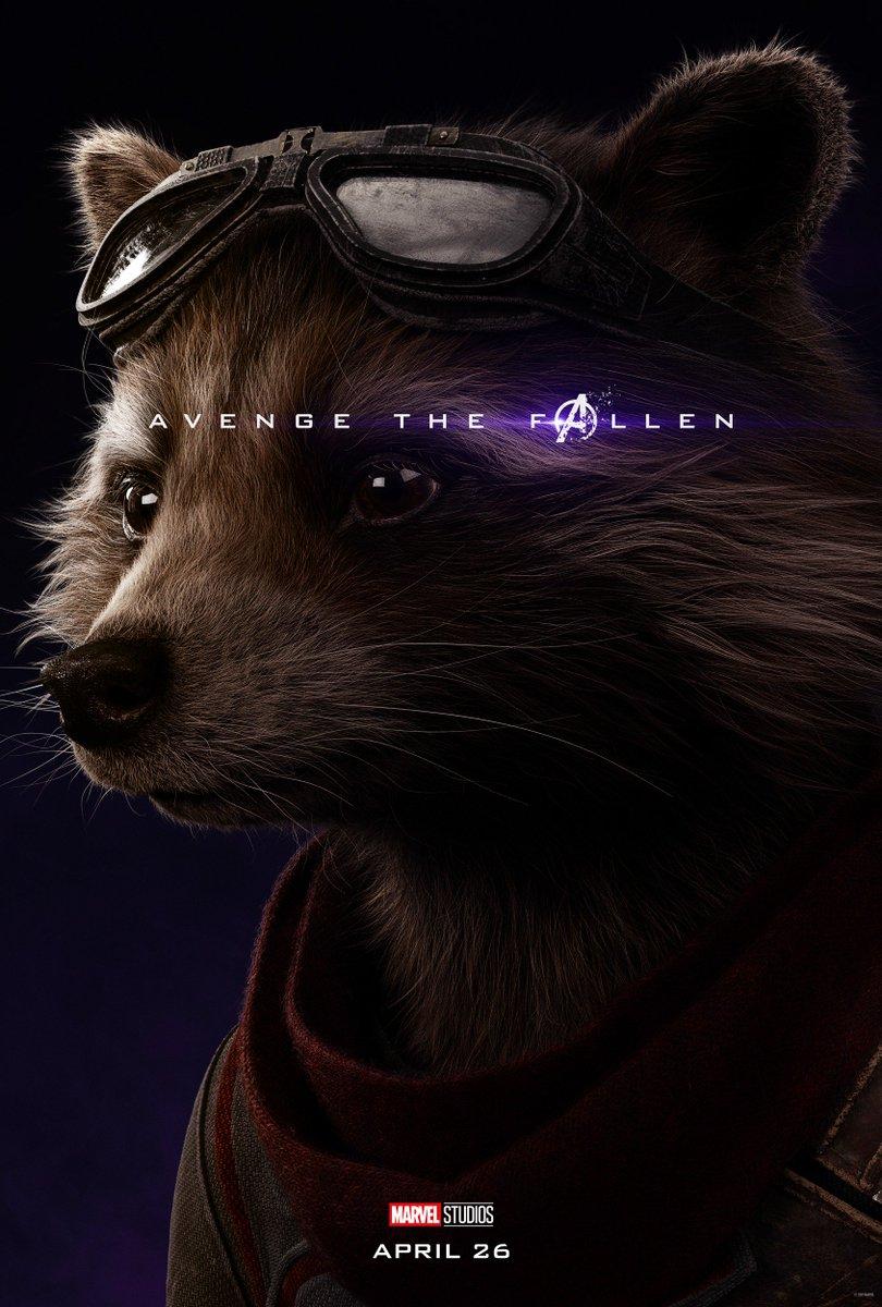 RT @LightsCameraPod: New 'Avengers: Endgame' posters for Rocket and Bruce Banner. #AvengeTheFallen https://t.co/SEDratxGWk