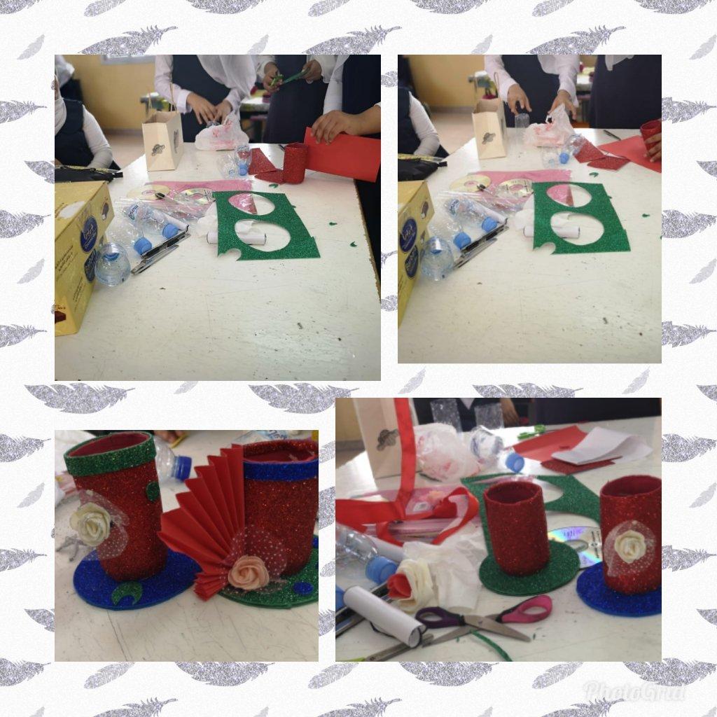 ورشة (فن العلوم في إعادة التدوير)قدمت لطالبات الصف 2/9 ضمن فعاليات  ✨علومنا ابداع✨إشراف أ.هدى الريامية