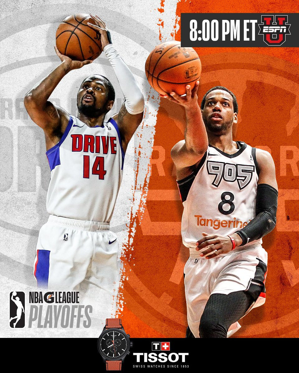 """It's """"Win Or Go Home"""" up north tonight (8 pm/et) as @KJay24k leads the @GRDrive vs. @MrJLoyd & @Raptors905 in first-round #GLeaguePlayoffs action on @ESPNU!    @TISSOT 