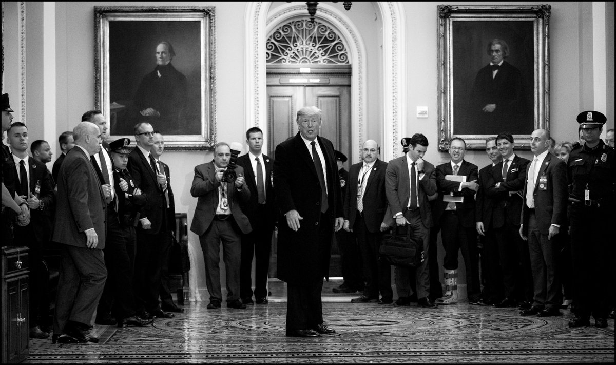 .@realDonaldTrump yells to the media after attending the Senate Republican Policy Lunch on Capitol Hill.