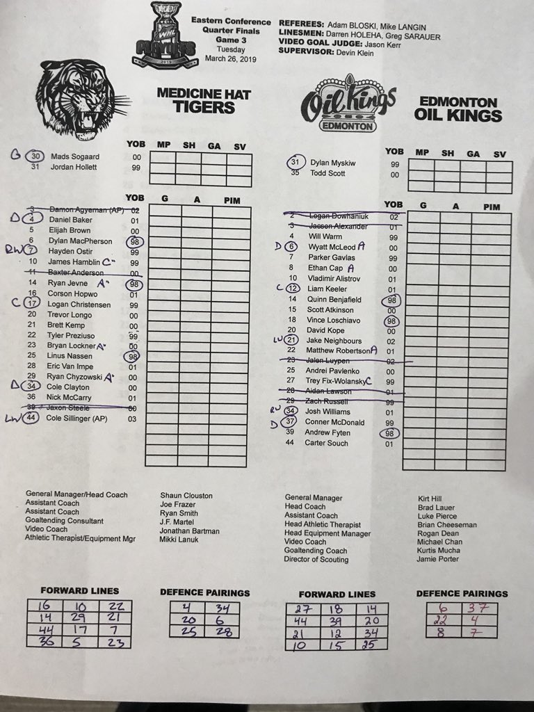 RT @AndrewPeard: Here are tonight's lineups for Game 3.  #MHvsEDM #WHLPlayoffs https://t.co/GalbuYu3fG