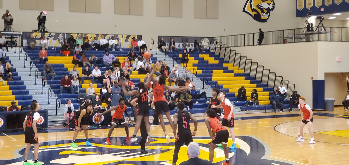 McDonald's All-American game scrimmage just tipped at Wheeler high school. Broadcast live on ESPNU
