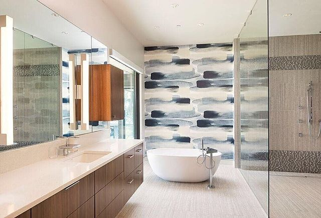 Interiors by: @vanillawood . #thepatterncollective #wallpaperlove #patternisbetter #vanillawood #bathroomenvy #interiordesign #spa #bathroominspo ...
