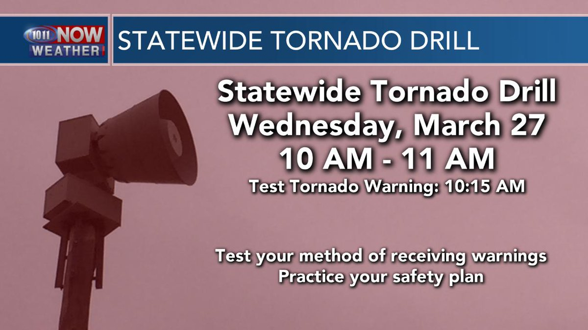 There is a statewide tornado drill in Nebraska Wednesday morning. This is a great time to practice your severe weather safety plan. Know where to go when a tornado warning is issued. https://t.co/qvPBOwWhMJ