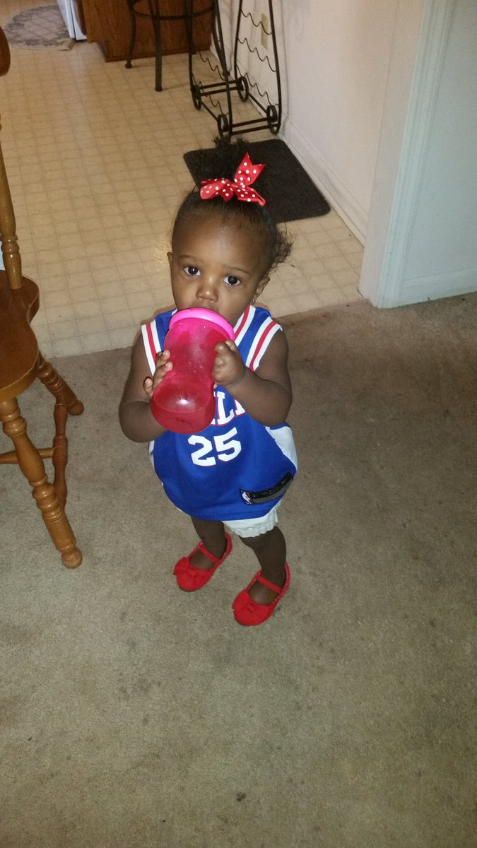 Her is my beautiful Granddaughter,Sanai  with your jersey on today.
