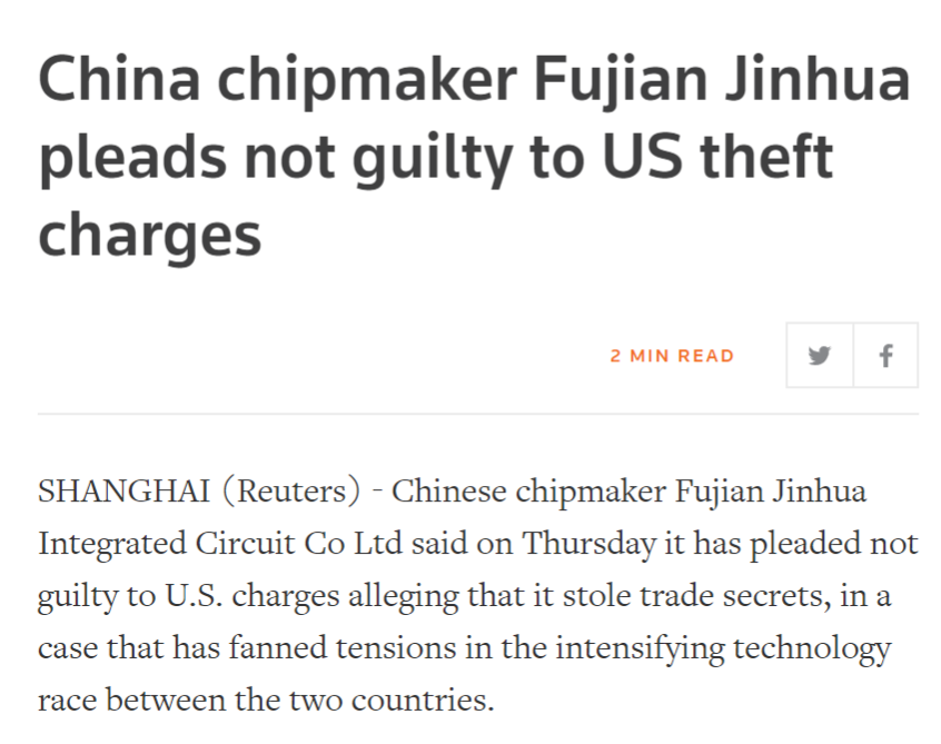 Steptoe & Johnson, LLP on behalf of Chinese state owned and recently charged by the DOJ for economic espionage Fujian Jinhua Integrated Circuit Co., Ltd justice.gov/usao-ndca/pr/p… efile.fara.gov/docs/6653-Exhi…