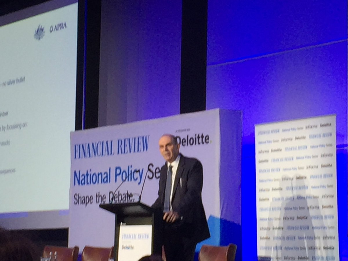 .@APRAinfo Wayne Byres on #organisational and #cultural #resilience focus on #incentives #assurance - quicker detection, escalation & remediation #accountability, good governance & ensure #consequences, #governance stronger o'sight  #AFRBanking19 @DeloitteNewsAU