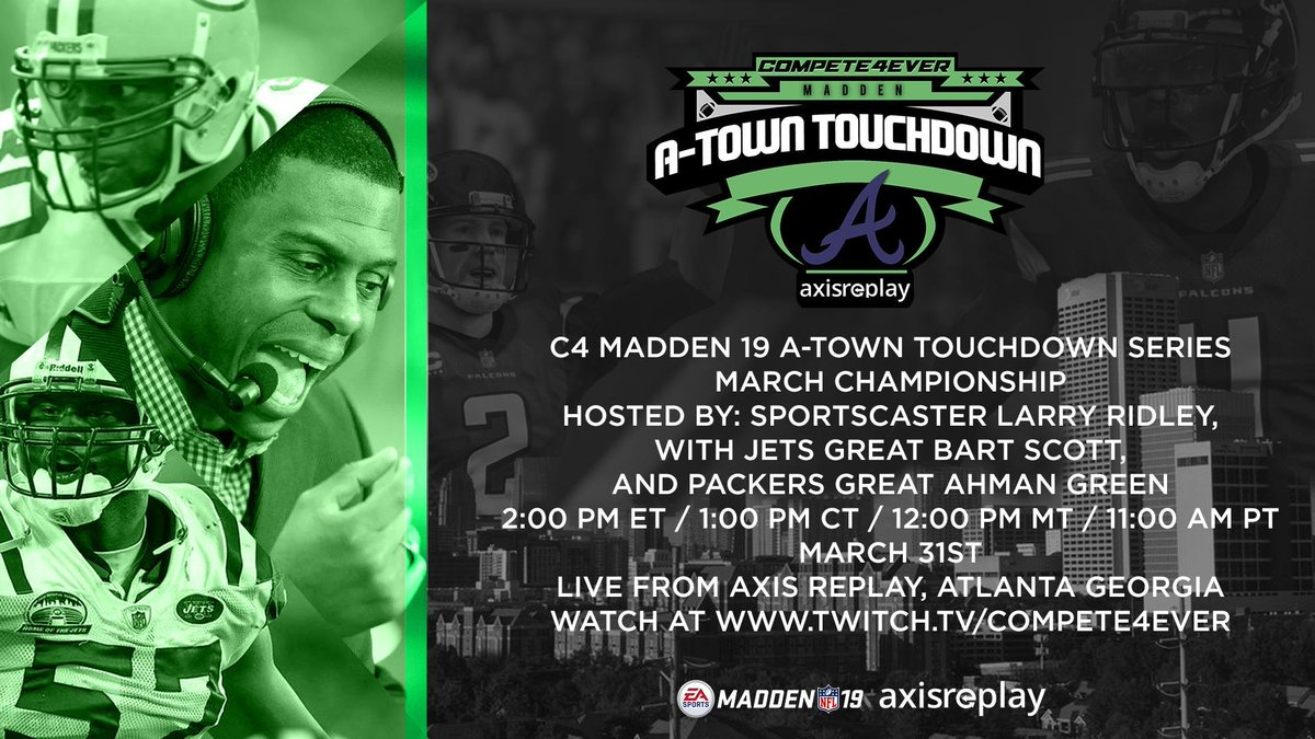 This Sunday catch 4 top #Madden19 players Live at @AxisReplay to see who will win the #ATownTouchdown March Championship and Earn an automatic spot in the Grand Finals May 26th! #NFL https://t.co/Q4SiOYKcmJ
