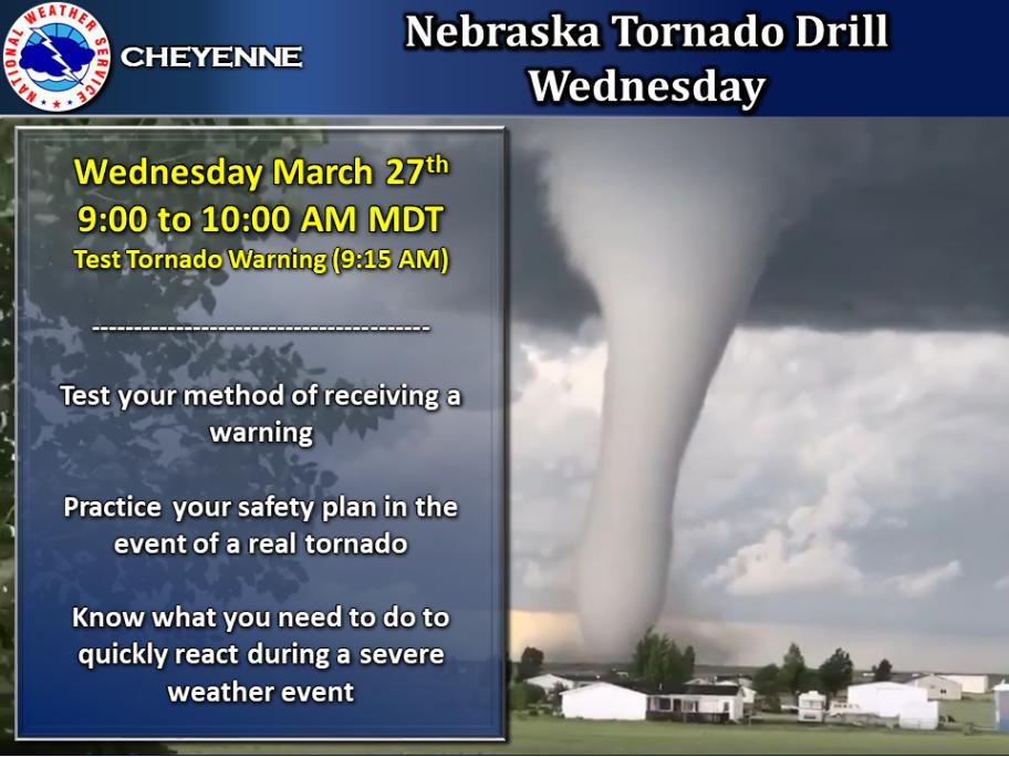 This week is Nebraska Severe Weather Awareness Week. A Tornado Drill will be conducted Wednesday morning for the state of Nebraska. Use this as an opportunity to practice your safety plans in the event of a real tornado and test your method of receiving a warning. #newx https://t.co/EO98zX4Snu