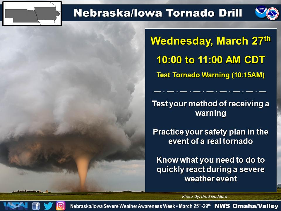 Don't forget the NWS will be conducting a statewide Tornado Drill between 10 and 11am tomorrow (Wednesday).  Perfect time for your office to perform their tornado drill as well!  Test tornado warning will be sent at 10:15am to test sirens and your way of receiving warning info. https://t.co/sCe87siEKk