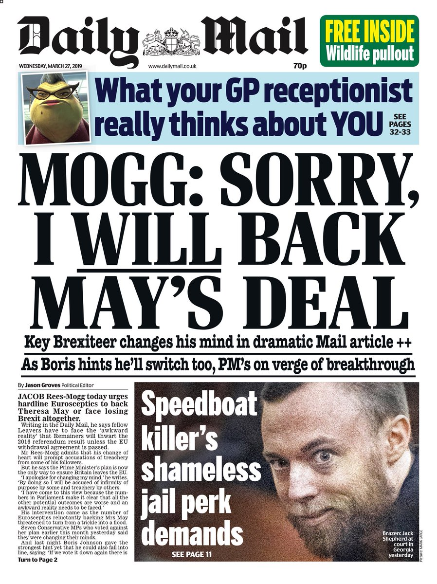 "Wednesday's Daily MAIL: ""Mogg: Sorry, I WILL Back May's Deal"" #bbcpapers #tomorrowspaperstoday"
